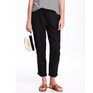 Old Navy Linen Blend Cropped Pant Black Size Large